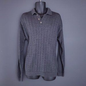 VINTAGE Arnold Palmer Cable Knit Sweater Gray Men's Large 90s Retro Stretch Golf